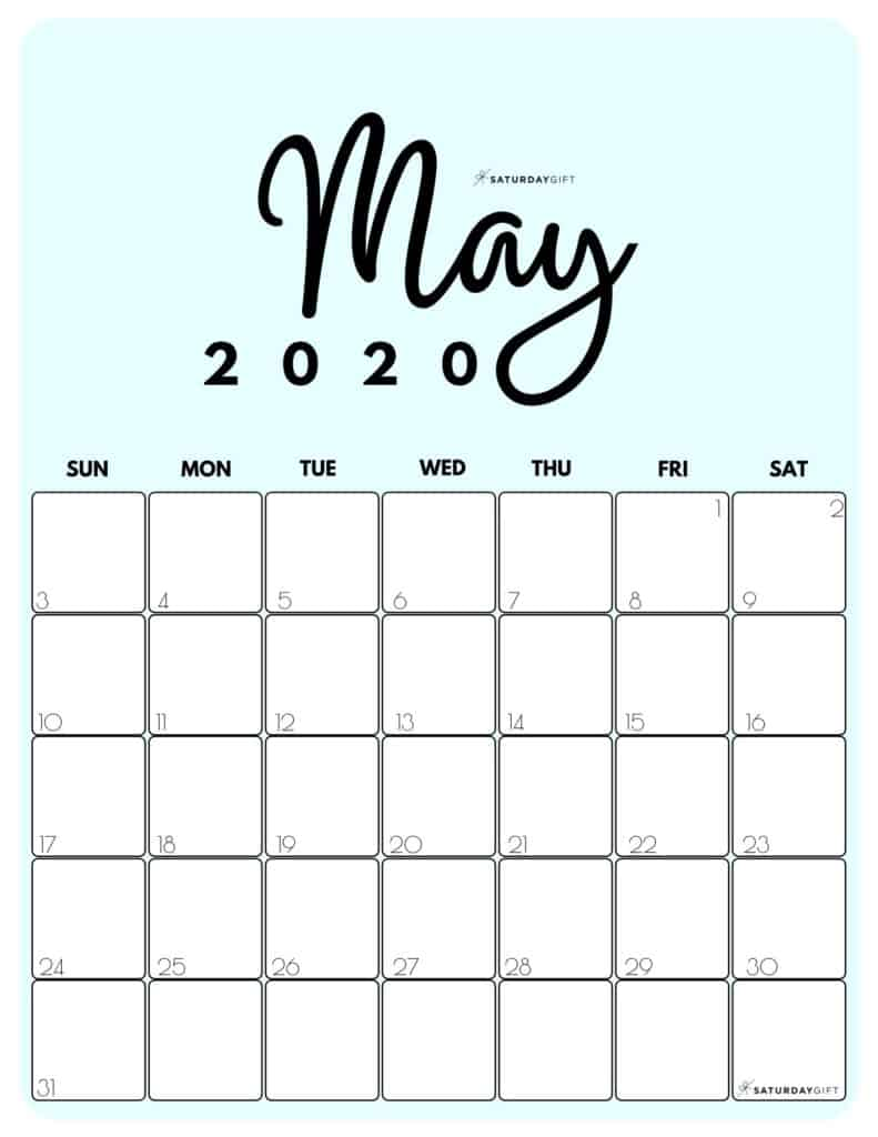 May 2020 Cute Monthly Calendar Blue PDF | SaturdayGift