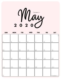 May 2020 Cute Monthly Calendar Pink PDF | SaturdayGift