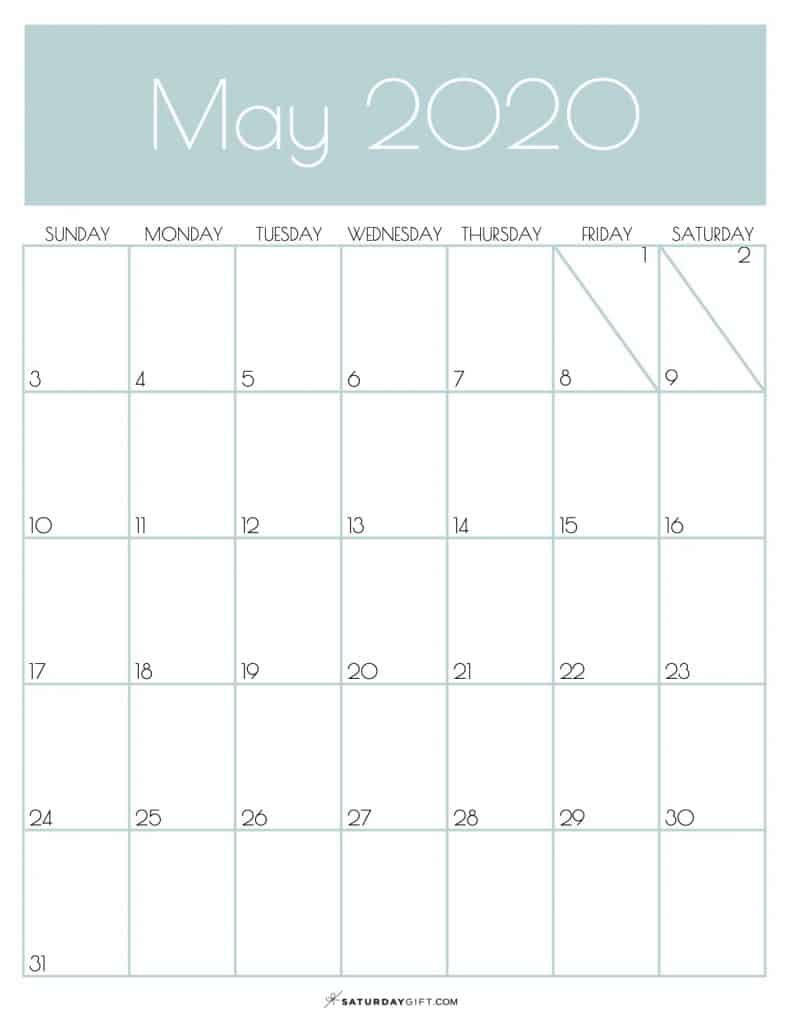 Monthly Calendar May 2020 Jungle Mist PDF | SaturdayGift