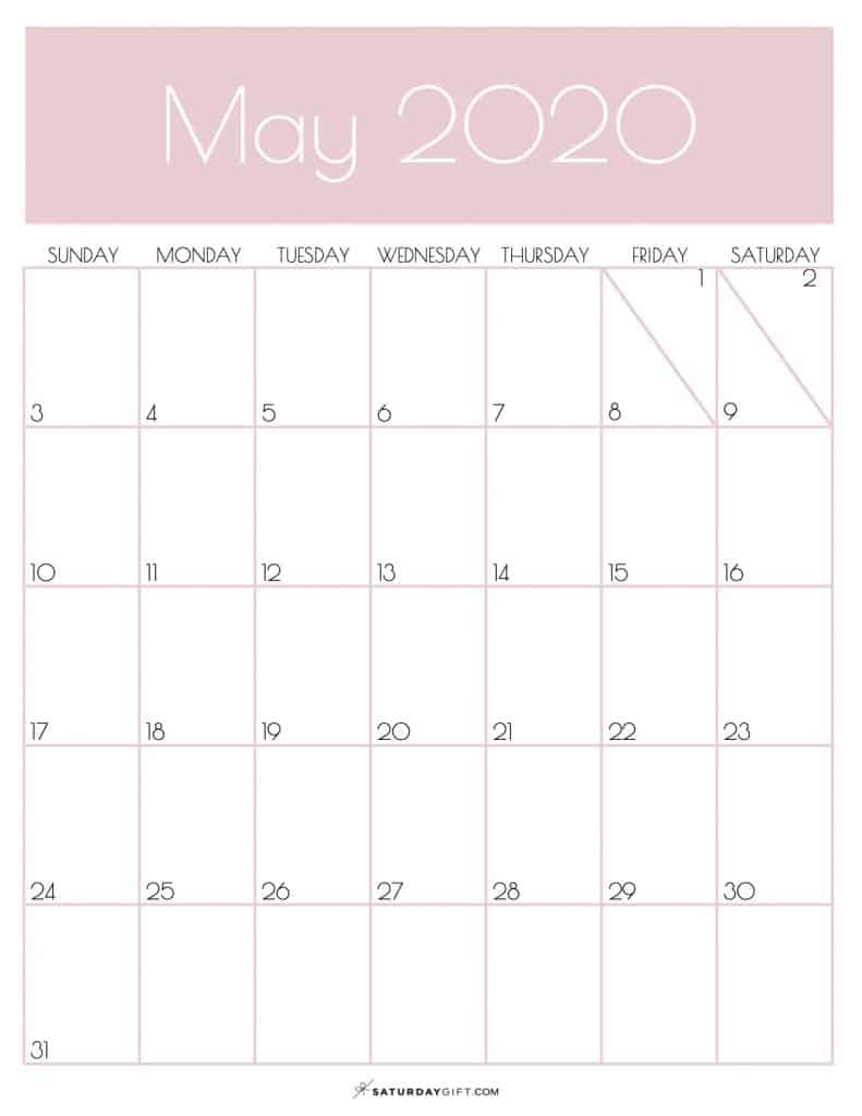 Monthly Goals Planner Calendar May 2020 Rose Gold | SaturdayGift