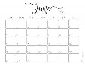 Elegant 2020 Calendar June - free printables | Pretty printable | Planner sheet | Planning & Organizing | 2020 Calendar | Black & white calendar | Minimalistic, pretty & simple | SaturdayGift | Saturday gift #SaturdayGift