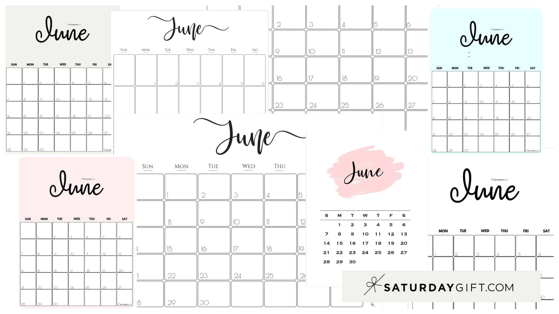 Cute & Free Printable June Monthly Calendars Featured Collage Image | SaturdayGift