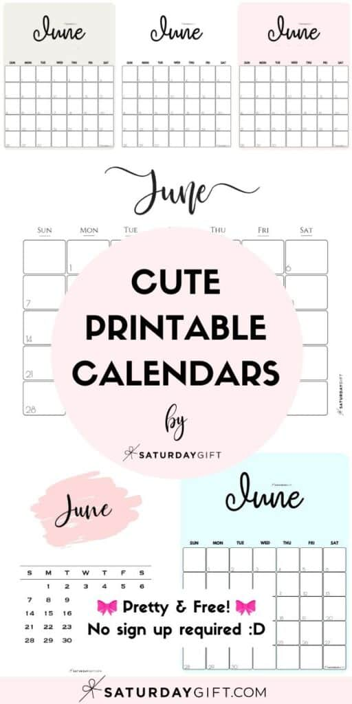 Cute & Free Printable June Monthly Calendars Long Pin Collage Image | SaturdayGift