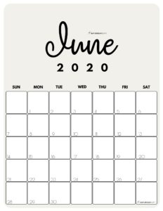 June 2020 Cute printable Calendar by month Beige PDF | SaturdayGift