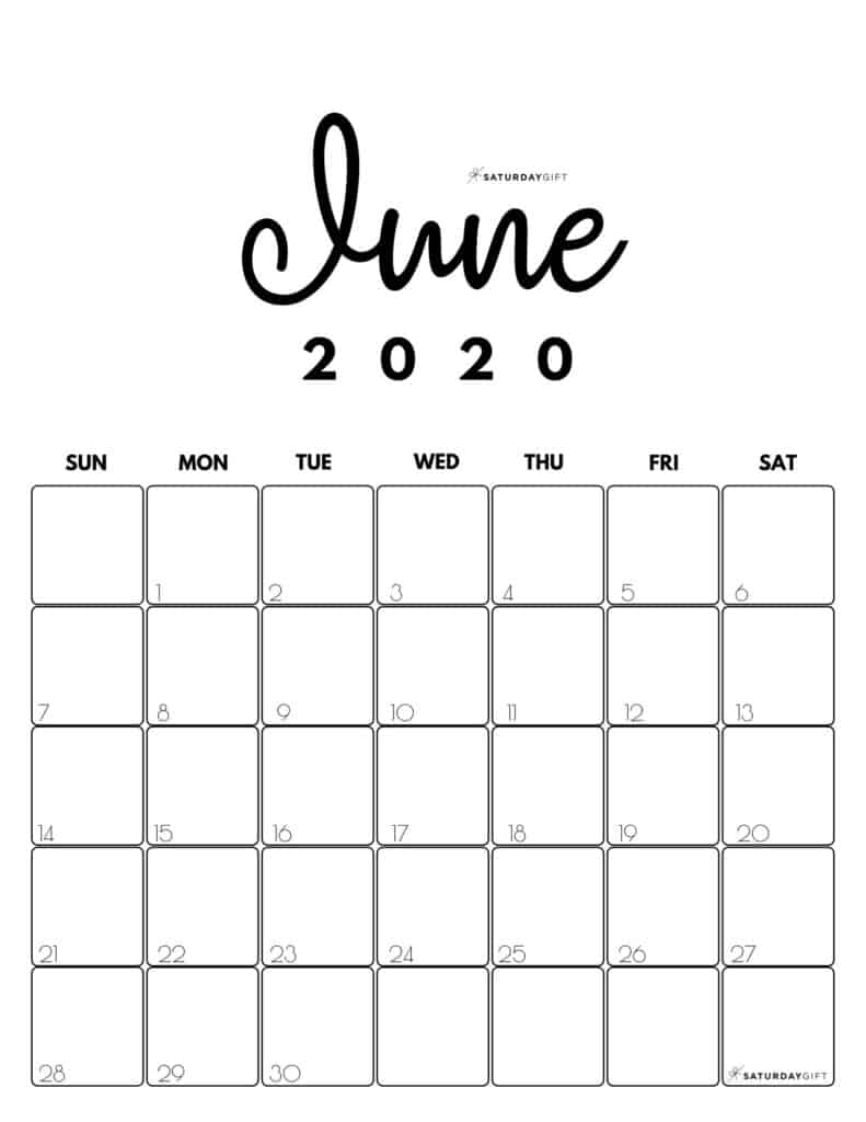 June 2020 Cute Monthly Calendar Black and White PDF | SaturdayGift