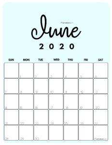 June 2020 Cute Monthly Calendar Blue PDF | SaturdayGift