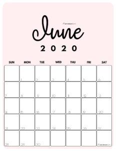 June 2020 Cute Monthly Calendar Pink PDF | SaturdayGift