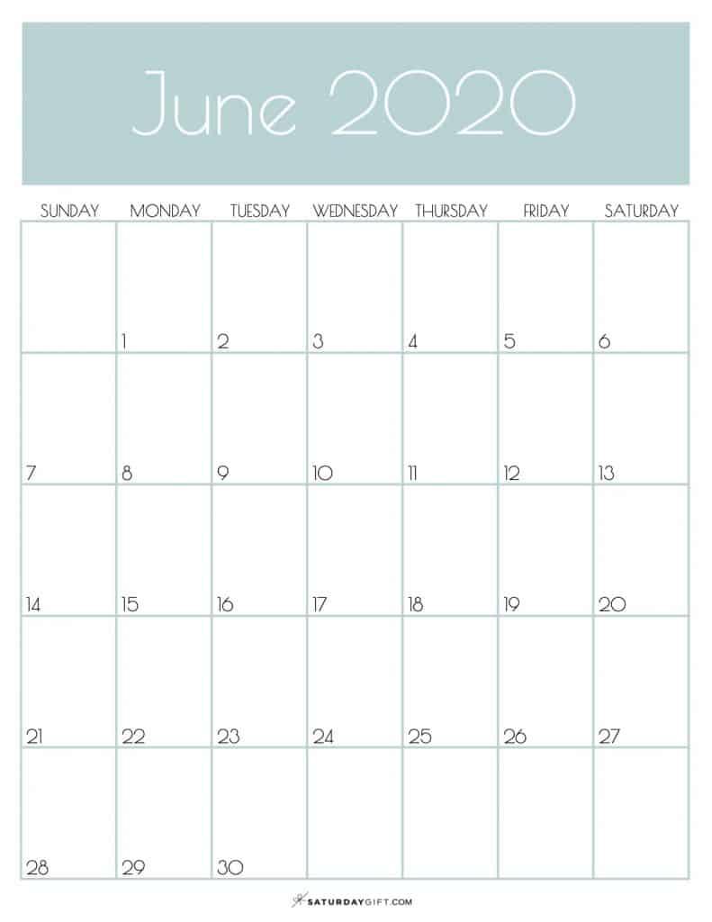 Monthly Goals Calendar June 2020 Jungle Mist | SaturdayGift
