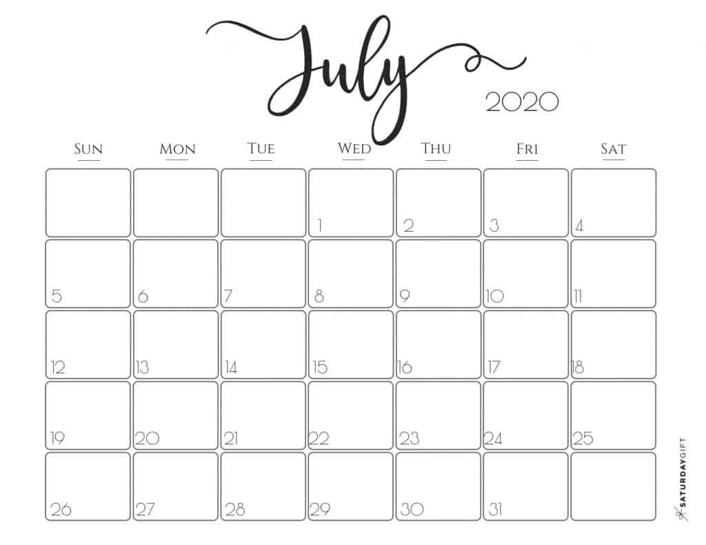 Elegant 2020 Calendar July - free printables | Pretty printable | Planner sheet | Planning & Organizing | 2020 Calendar | Black & white calendar | Minimalistic, pretty & simple | SaturdayGift | Saturday gift #SaturdayGift