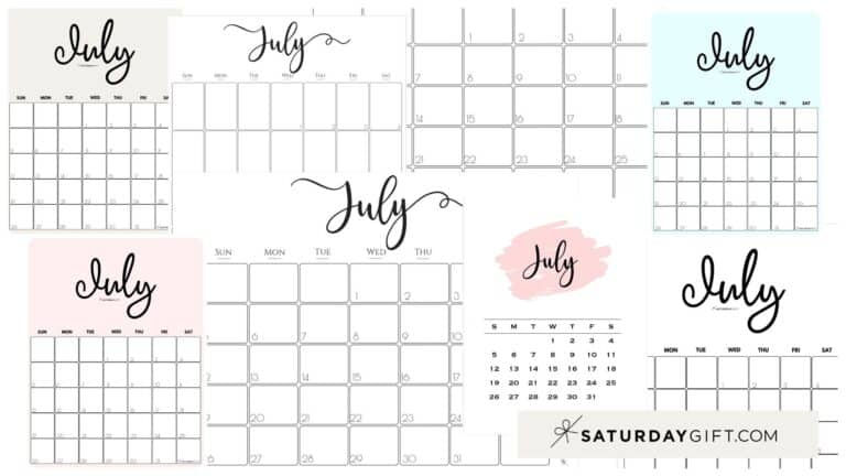 Cute (& Free!) Printable July 2021 Calendar – All Pretty Designs