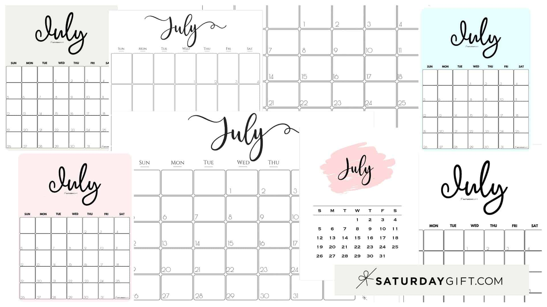 Cute & Free Printable July Monthly Calendars Featured Collage Image