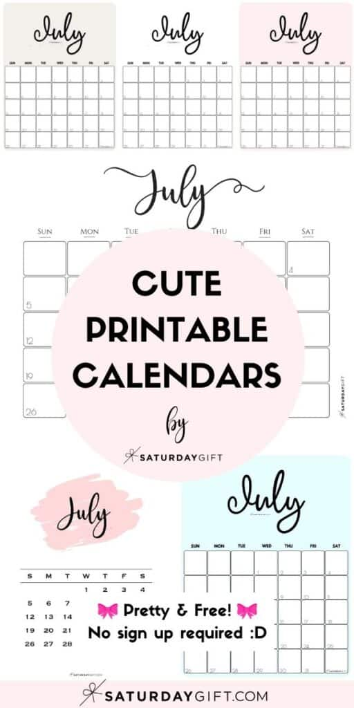 Cute & Free Printable July Monthly Calendars Long Pinterest Collage Image