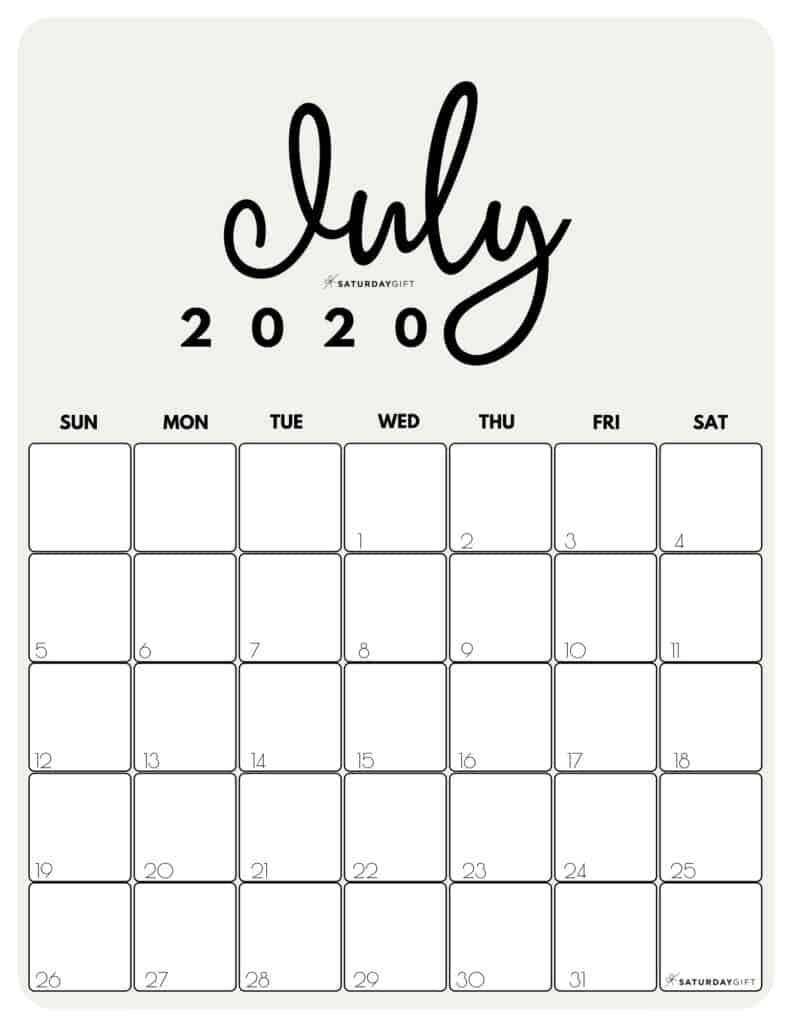 July 2020 Cute Monthly Calendar Beige PDF | SaturdayGift