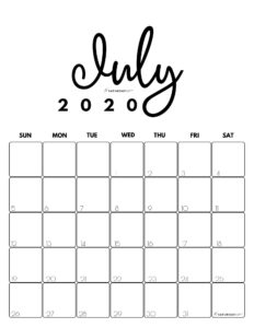 July 2020 Cute Monthly Calendar Black and White PDF | SaturdayGif