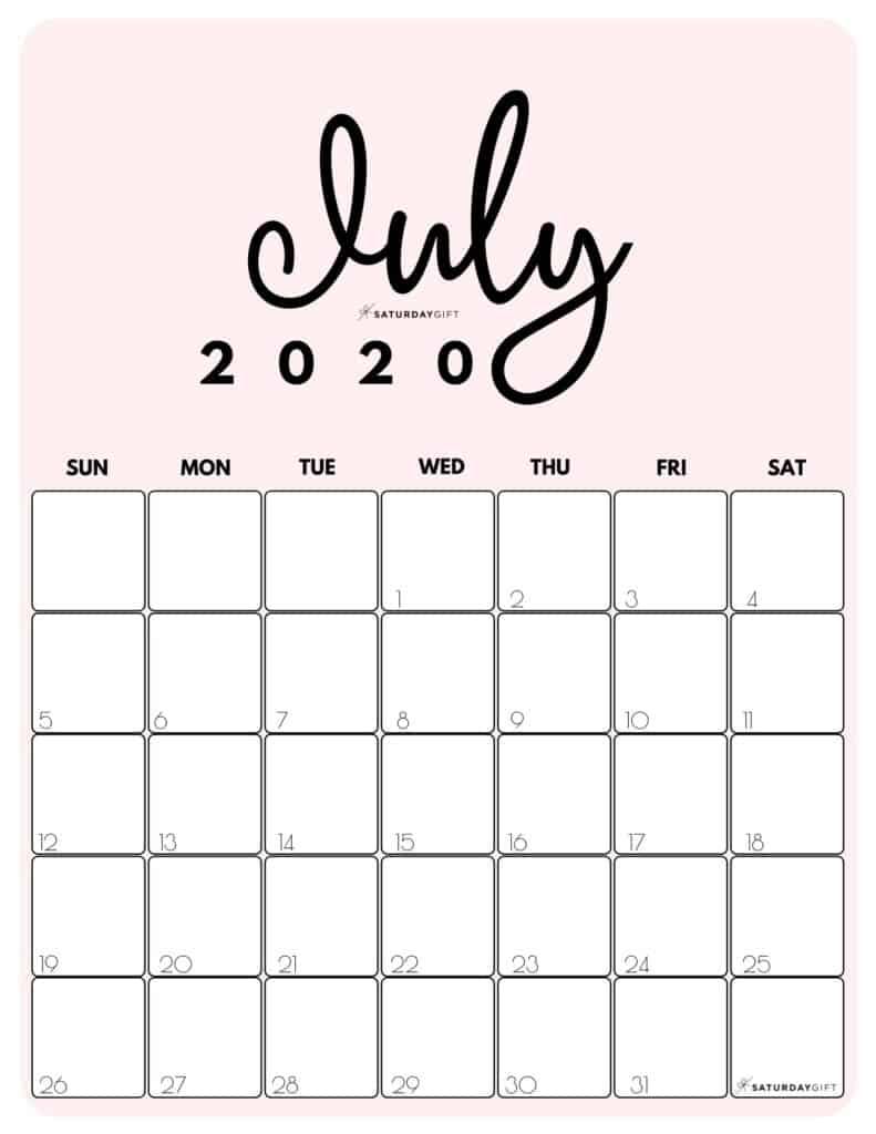 July 2020 Cute Monthly Calendar Pink PDF | SaturdayGift