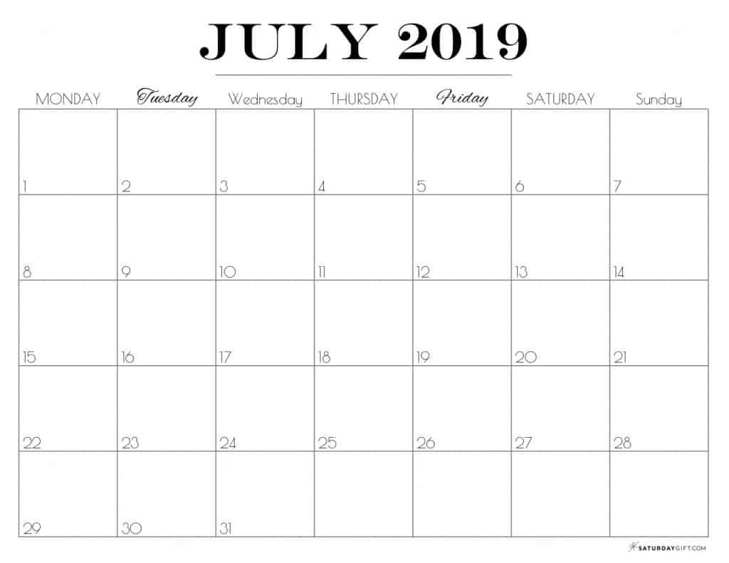 Pretty printable July 2019 Calendar horizontal Monday start Dated {Free Printables} | SaturdayGift