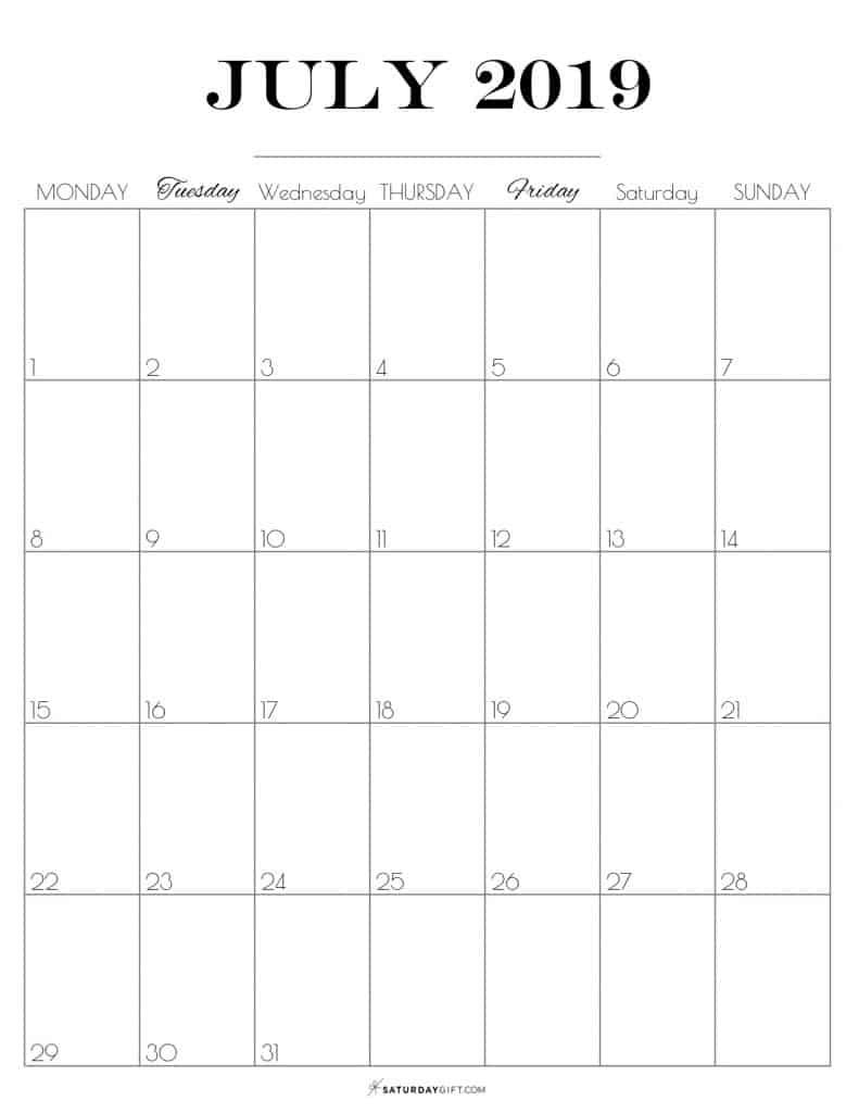 Pretty printable July 2019 Calendar vertical Monday start Dated {Free Printables} | SaturdayGift