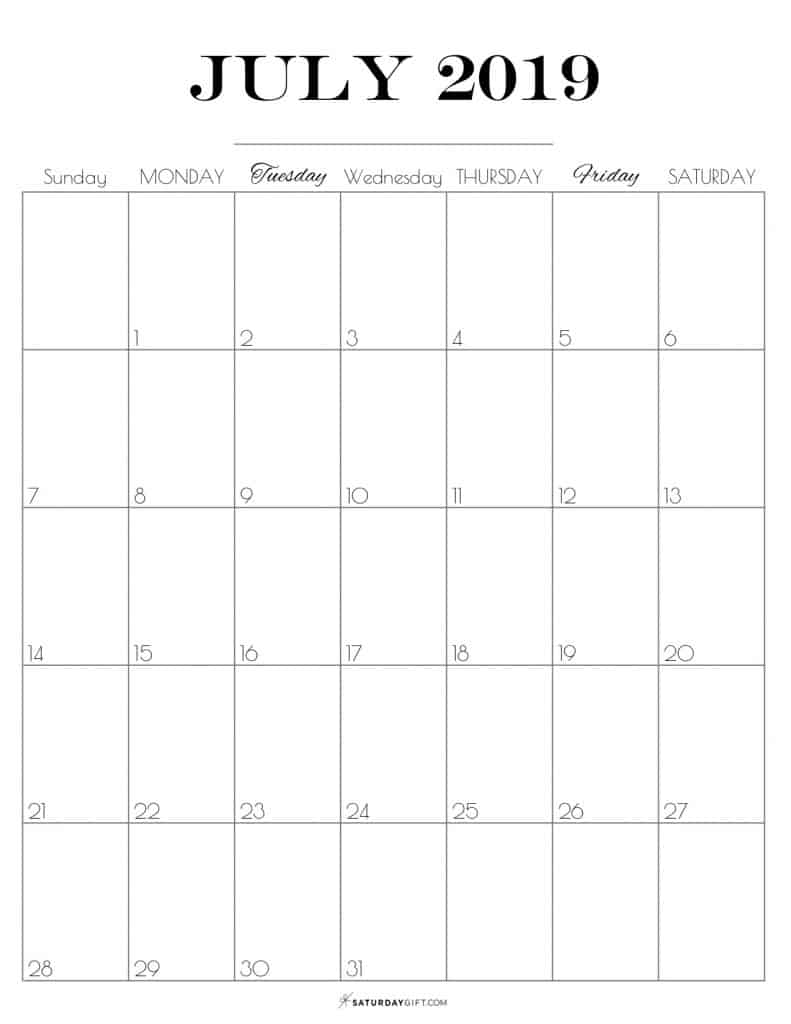 photograph relating to Free Printable July Calendar identified as Printable July 2019 Calendar Cost-free Extremely Printables