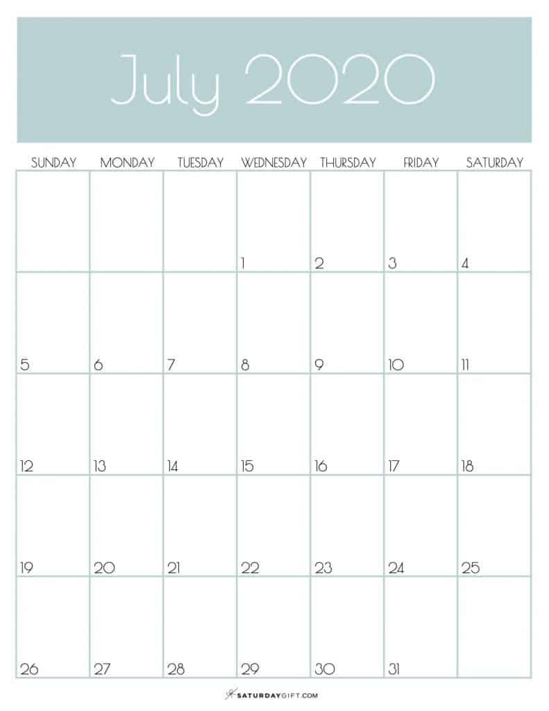 Monthly Calendar July 2020 Jungle Mist | SaturdayGift