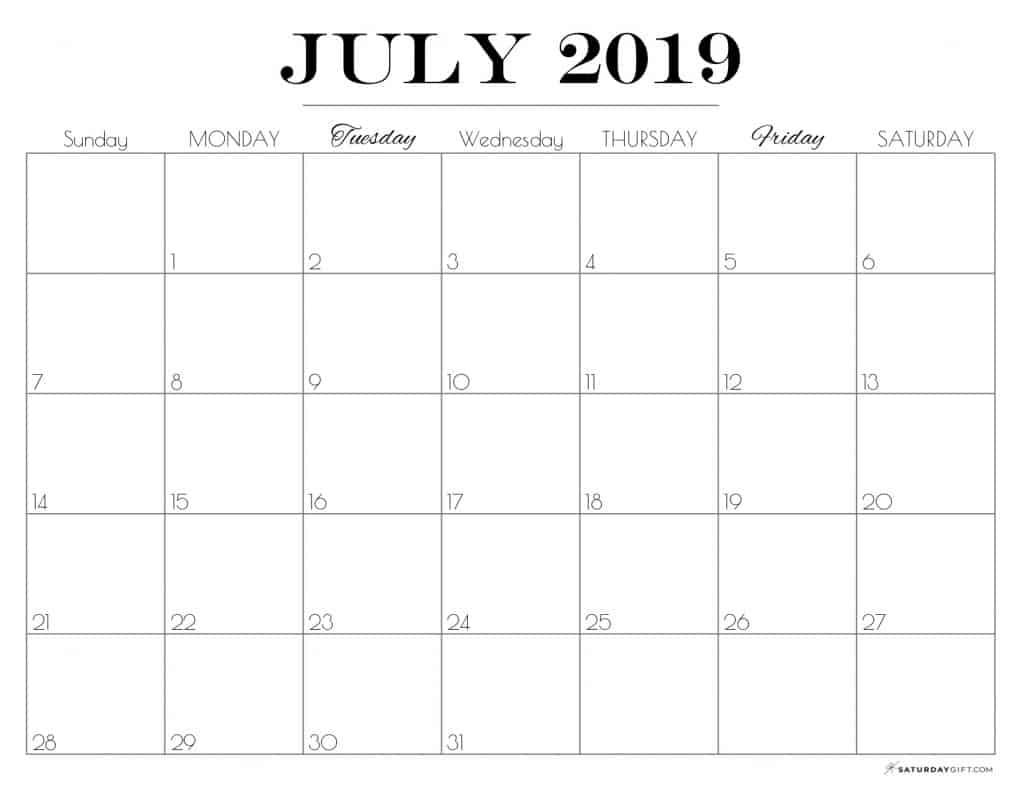 Pretty printable July 2019 Calendar horizontal Sunday start Dated {Free Printables} | SaturdayGift
