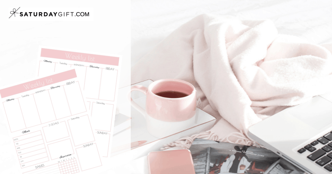 7 things to do on Sundays for the best week ever (+weekly list printable) | free printable | Pretty printable | Planner sheet | Goal Planning | Reflect your week | Week in review | Goal Achieving | Goal getter | Self Development | Personal Development | Self Care | Organization | Organized Life | Be more productive | Stay organized | SaturdayGift | Saturday gift #SaturdayGift