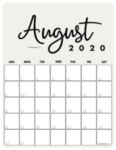 August 2020 Cute Monthly Calendar Beige PDF | SaturdayGift