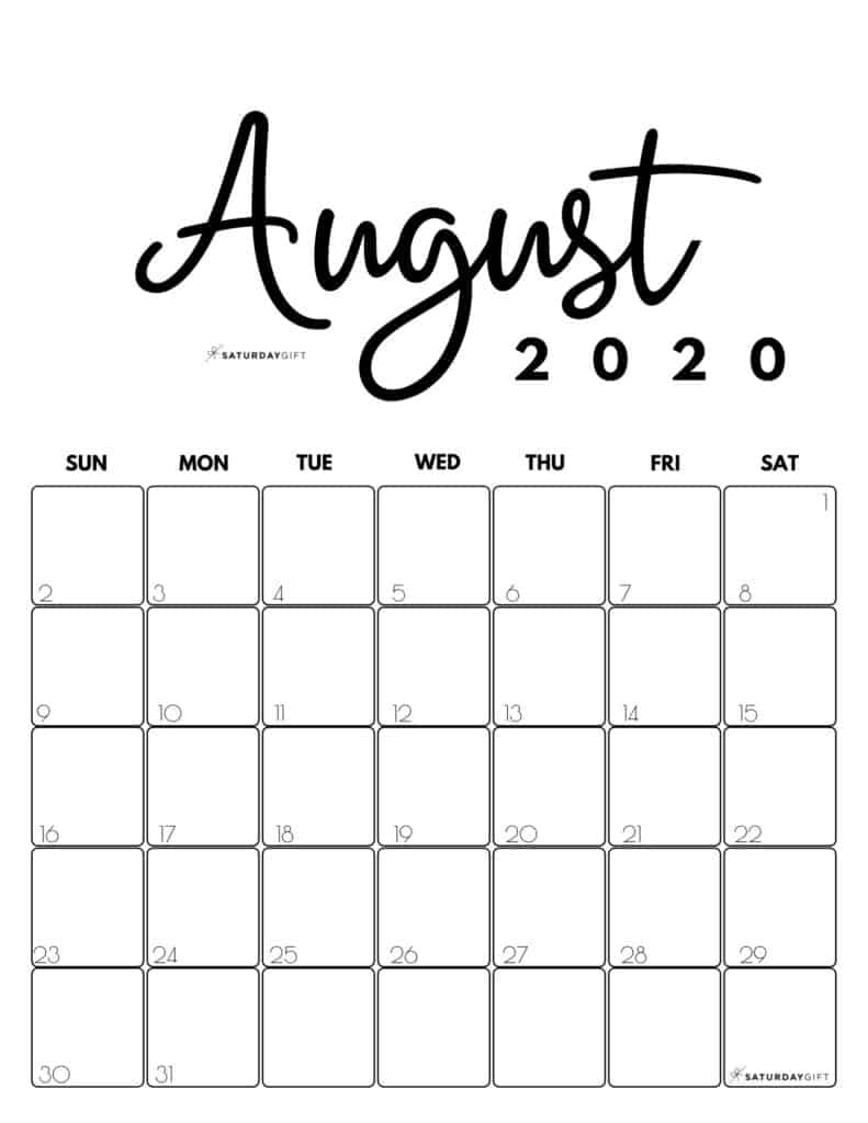 August 2020 Cute Monthly Calendar Black and White PDF | SaturdayGift