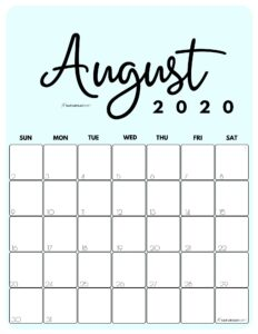 August 2020 Cute Calendar by month Blue PDF | SaturdayGift