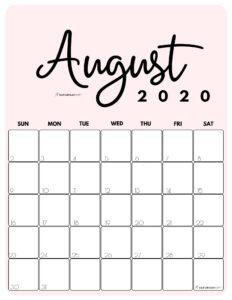 August 2020 Cute Monthly Calendar Pink PDF | SaturdayGift