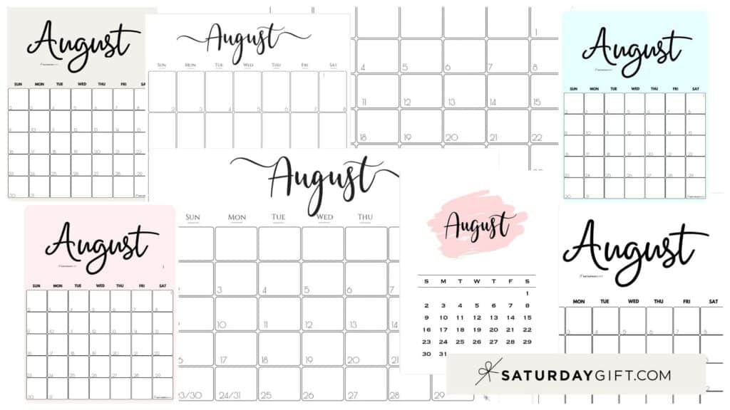 Cute (& Free!) Printable August 2021 Calendar | SaturdayGift