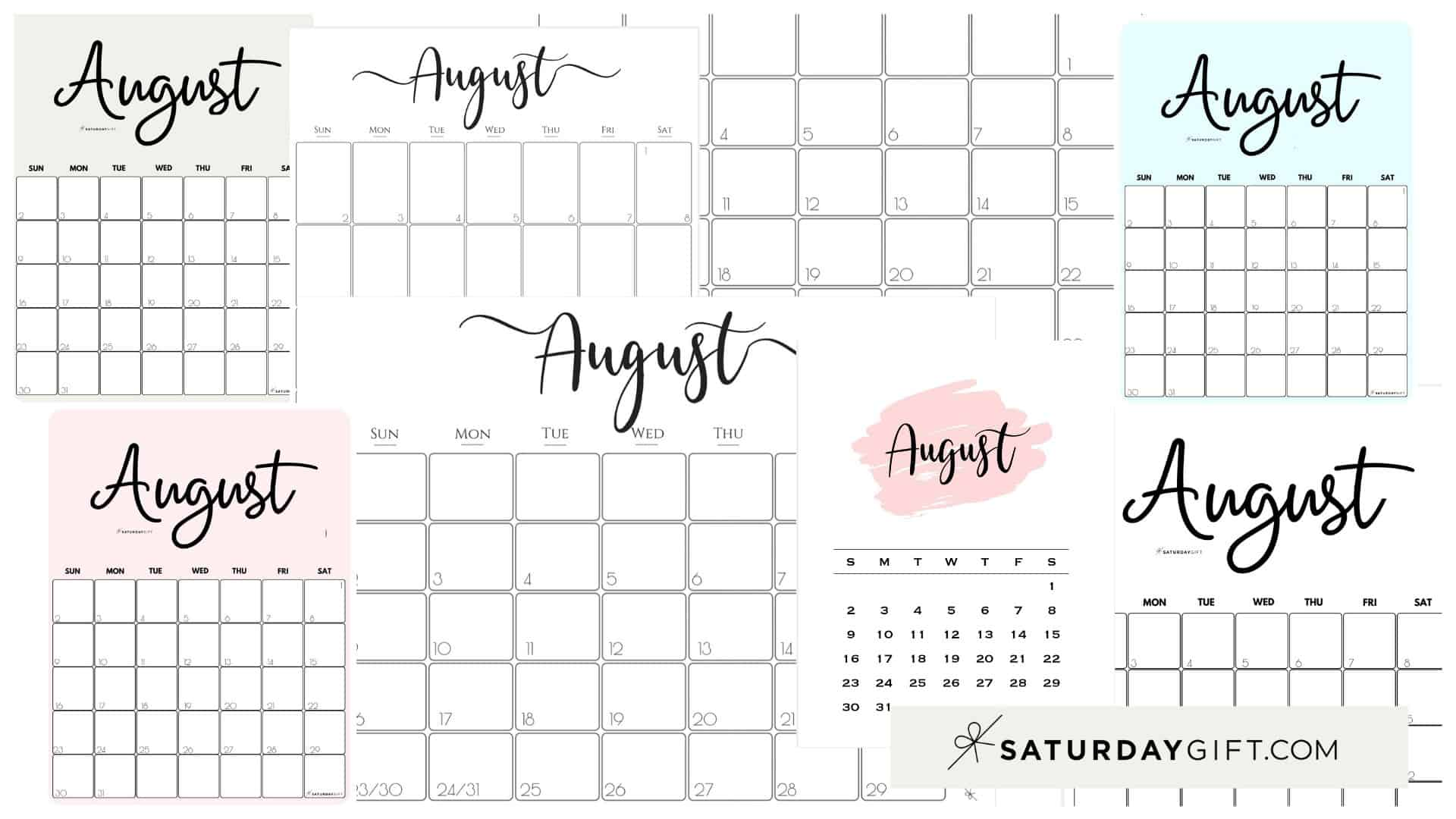 Cute & Free Printable August Monthly Calendars Featured Collage Image