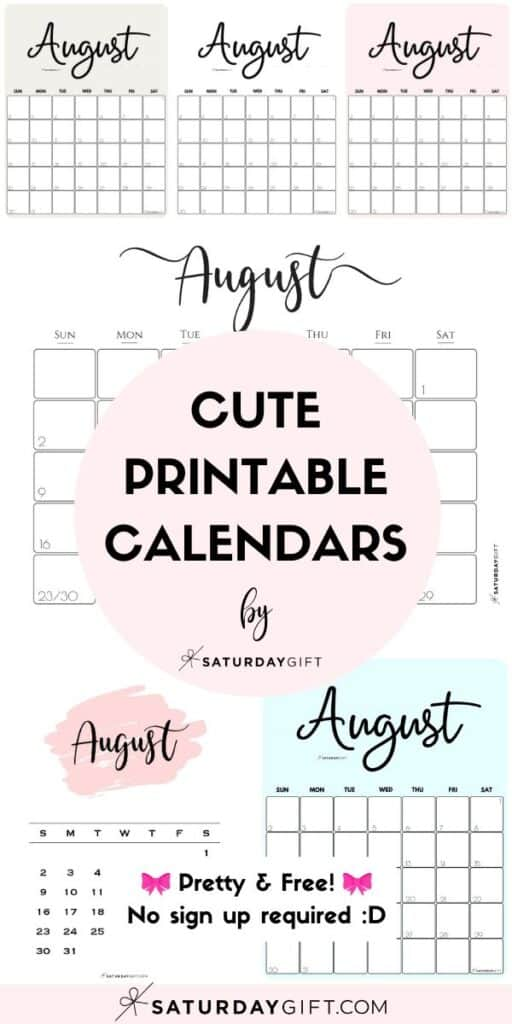 Cute & Free Printable August Monthly Calendars Long Pin Collage Image | SaturdayGift