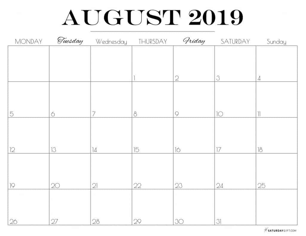 Pretty printable August 2019 Calendar horizontal Monday start Dated {Free Printables}   SaturdayGift