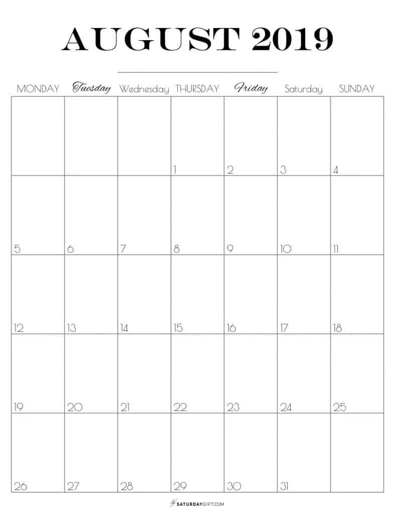 Pretty printable August 2019 Calendar vertical Monday start Dated {Free Printables}   SaturdayGift