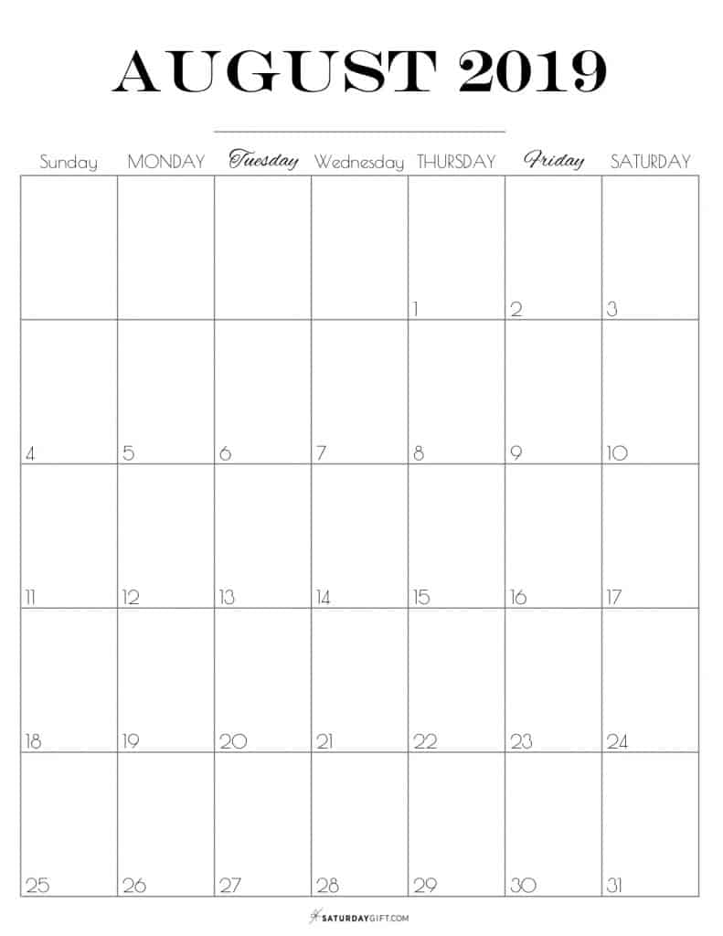 photograph relating to Vertical Calendar Printable called Printable August 2019 Calendar Cost-free lovely Printables