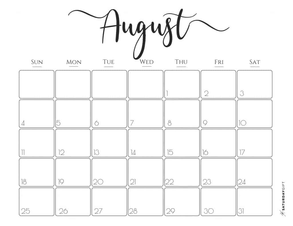 This is an image of Astounding August Printable Calendars