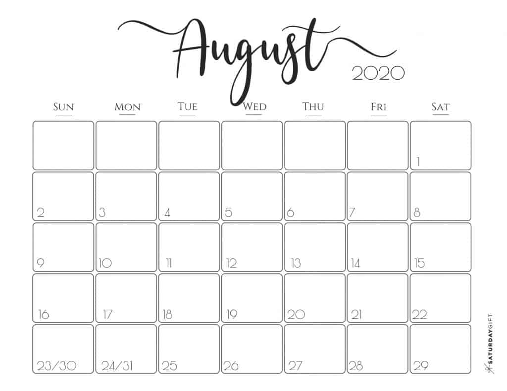 Elegant 2020 Calendar August - free printables | Pretty printable | Planner sheet | Planning & Organizing | 2020 Calendar | Black & white calendar | Minimalistic, pretty & simple | SaturdayGift | Saturday gift #SaturdayGift