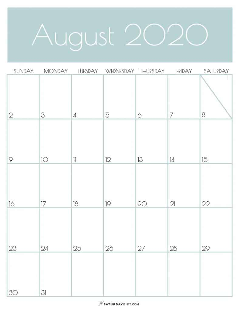 Monthly Goals Calendar August 2020 Jungle Mist | SaturdayGift