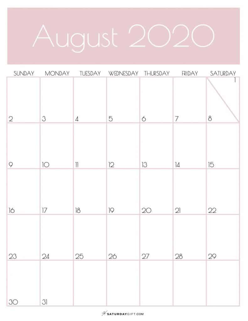 Light Monthly Calendar August 2020 Rose Gold | SaturdayGift