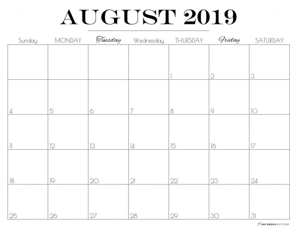 graphic about Free August Calendar Printable named Printable August 2019 Calendar Free of charge lovely Printables