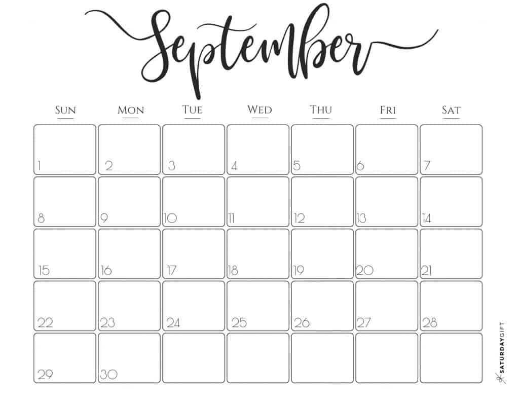 image relating to September Printable Calendar titled Tasteful 2019 Calendar Free of charge Printables SaayGift