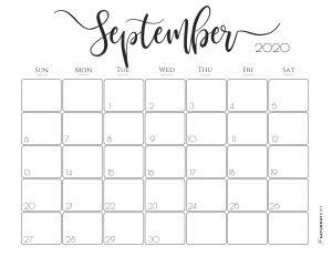 Elegant 2020 Calendar September - free printables | Pretty printable | Planner sheet | Planning & Organizing | 2020 Calendar | Black & white calendar | Minimalistic, pretty & simple | SaturdayGift | Saturday gift #SaturdayGift