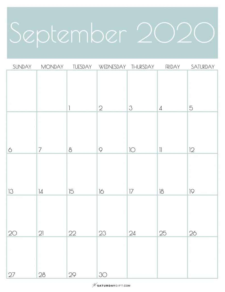 Monthly Calendar September 2020 Jungle Mist | SaturdayGift
