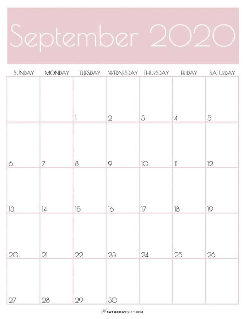 Calendar September 2020 Rose Gold | SaturdayGift