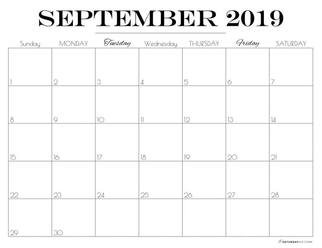graphic relating to Free Printable September Calendar identify Printable September 2019 Calendar Absolutely free charming Printables
