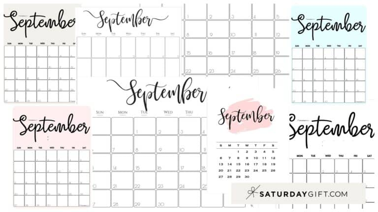 Cute (& Free!) Printable September 2021 Calendar – All Pretty Designs