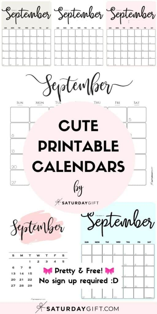 Cute & Free Printable September Monthly Calendars Long Pin Collage Image | SaturdayGift
