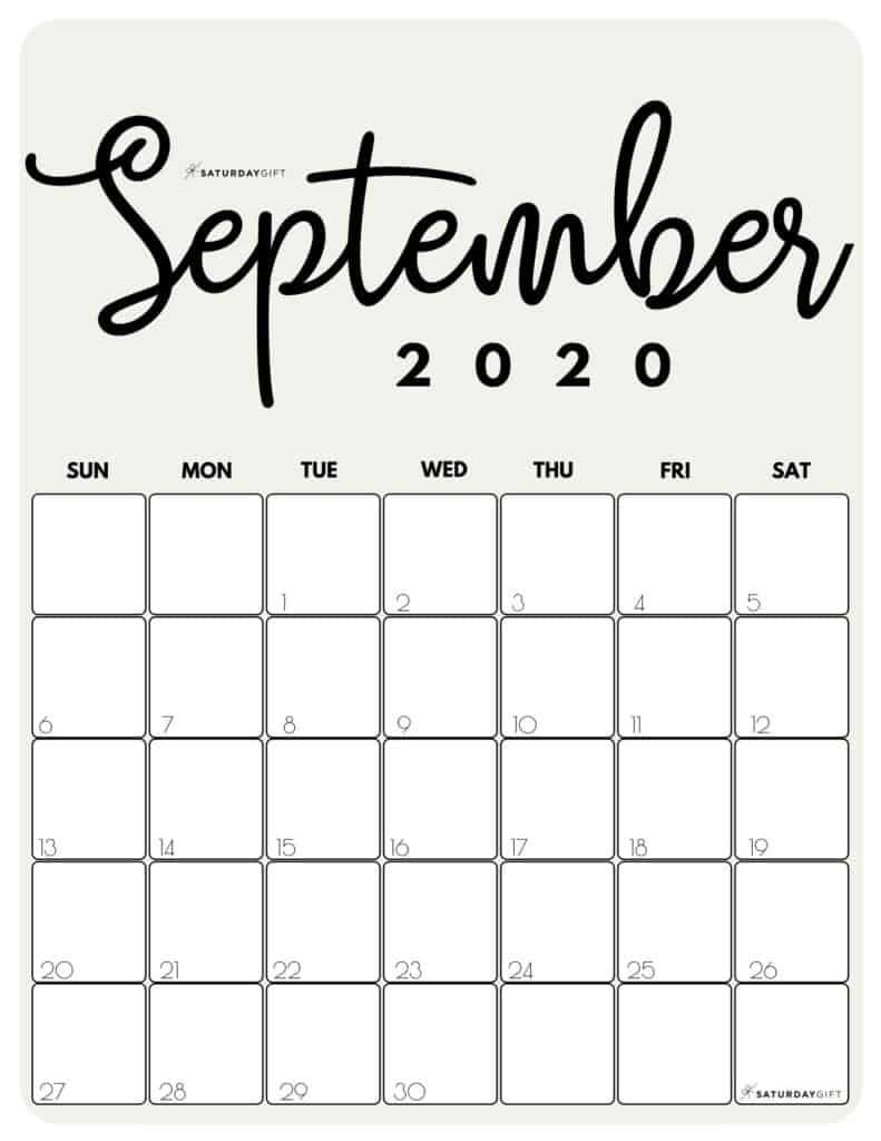 September 2020 Cute Monthly Calendar Beige PDF | SaturdayGift