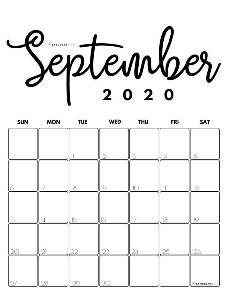 September 2020 Cute Monthly Calendar Black and White PDF | SaturdayGift