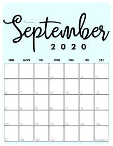 September 2020 Cute printable calendar by month Blue PDF | SaturdayGift